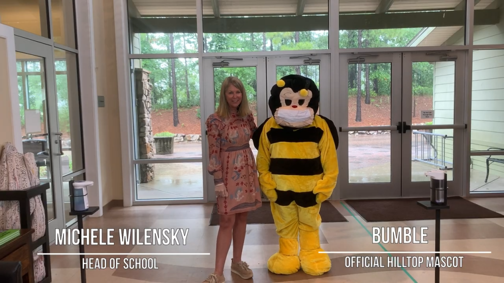 Hilltop Montessori Covid-19 Safety Precautions, image of Head of School and mascot bumble bee